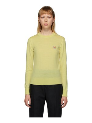 Maison Kitsune yellow wool fox head sweater