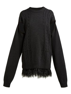 Maison Margiela armhole ostrich feather hem wool cotton sweater