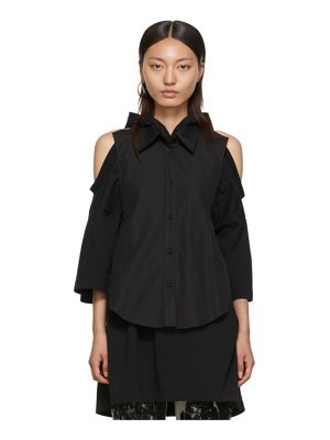 Maison Margiela black cotton poplin backless shirt