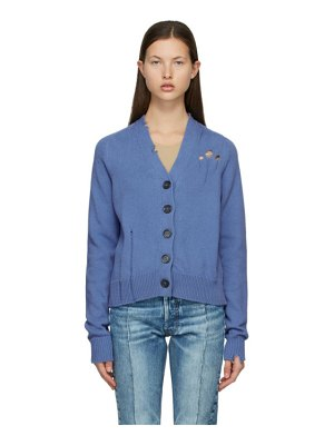 Maison Margiela blue destroyed cardigan