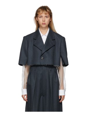 Maison Margiela blue wool cropped blazer