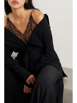 Maison Margiela off-the-shoulder layered crepe and lace top