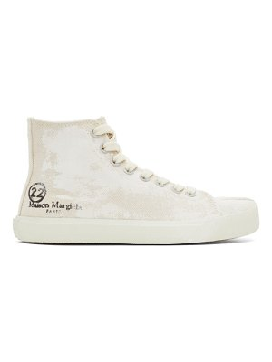 Maison Margiela off-white linen painted tabi high-top sneakers
