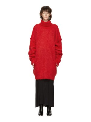 Maison Margiela red knit turtleneck dress