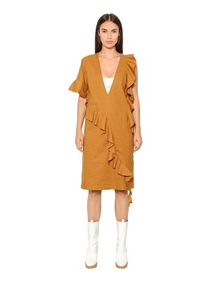 Maison Margiela Ruffled cotton blend poplin dress