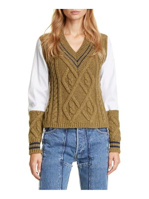 Maison Margiela woven sleeve cotton cable sweater