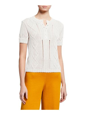 Maison Ullens Cable-Knit Short-Sleeve Top
