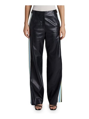 Maison Ullens Leather-Striped Pants