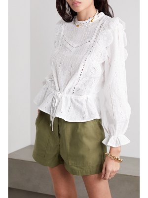 Maje crocheted lace-trimmed broderie anglaise cotton-voile blouse