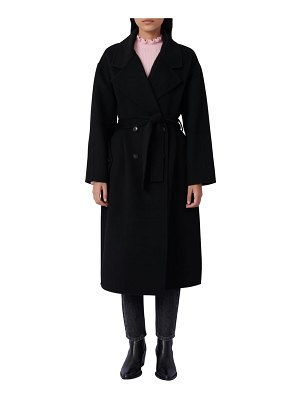 Maje double breasted belted wool blend coat