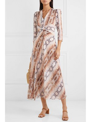 Maje gathered snake-print crepe de chine dress
