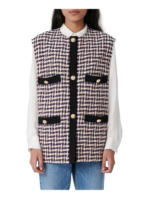 Maje houndstooth tweed vest