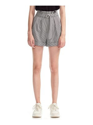 Maje imy houdstooth check paperbag waist belted shorts