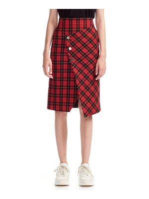 Maje janty asymmetrical plaid pencil skirt