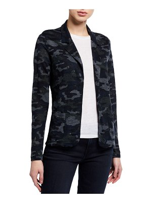 Majestic Filatures Camo Stretch-Linen Open-Front Blazer