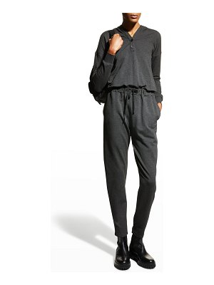 Majestic Filatures French-Terry Long-Sleeve Hooded Jumpsuit