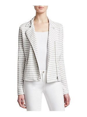 Majestic Filatures french terry stripe long sleeve moto jacket
