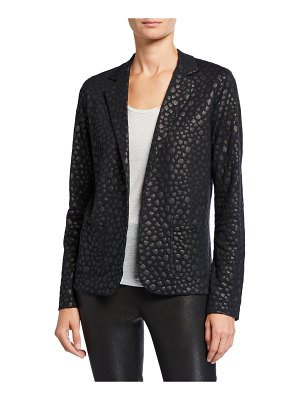 Majestic Filatures Leopard Metallic Open-Front Stretch Linen Blazer