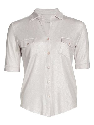 Majestic Filatures soft touch metallic button-front shirt