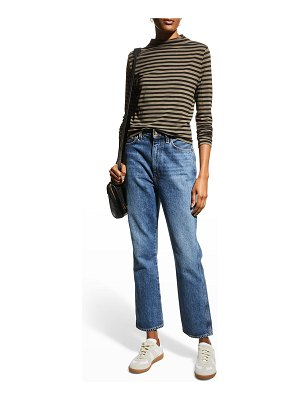 Majestic Filatures Soft Touch Striped Mock-Neck Top
