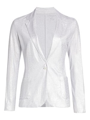 Majestic Filatures stretch metallic one-button blazer