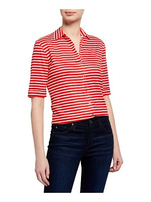 Majestic Filatures Striped Elbow-Sleeve Button-Front Top