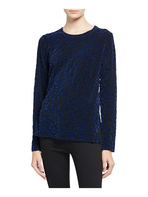 Majestic French Terry Leopard-Print Pullover Sweater