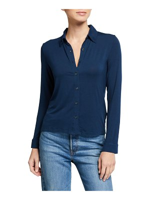 Majestic Long-Sleeve Button-Down Shirt with Back Pleat