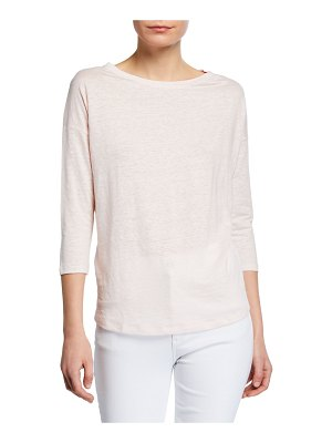 Majestic Paris for Neiman Marcus Boat-Neck 3/4-Sleeve Linen Tee