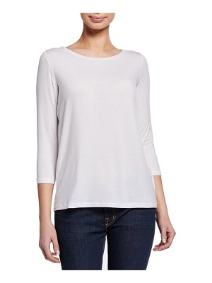 Majestic Paris for Neiman Marcus Boat-Neck 3/4-Sleeve Pleated-Back Tee