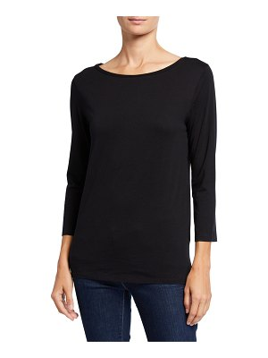 Majestic Paris for Neiman Marcus Boat-Neck 3/4-Sleeve Silk Touch Tee