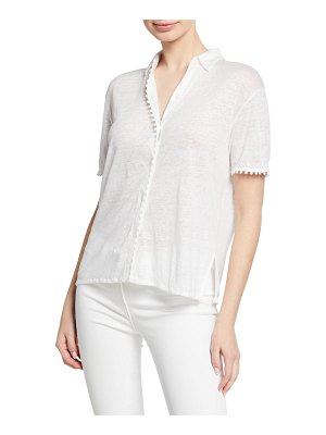Majestic Paris for Neiman Marcus Button-Down Short-Sleeve Polo Tee with Trim