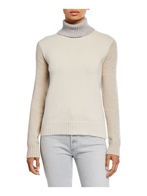 Majestic Paris for Neiman Marcus Cashmere Colorblock Turtleneck Sweater