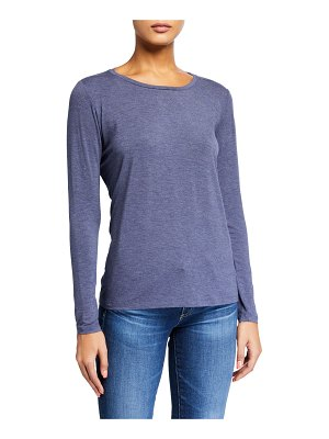 Majestic Paris for Neiman Marcus Crewneck Long-Sleeve Pleated Back Swing Tee