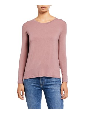 Majestic Paris for Neiman Marcus Crewneck Long-Sleeve Swing Tee w/ Back Pleat