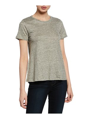 Majestic Paris for Neiman Marcus Crewneck Short-Sleeve Relaxed Stretch-Linen Tee