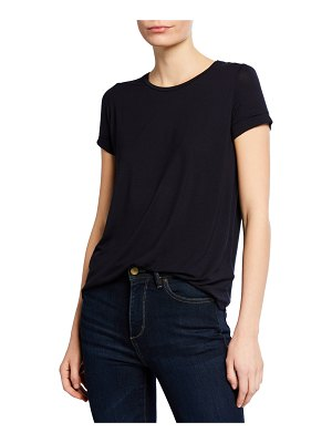 Majestic Paris for Neiman Marcus Crewneck Short-Sleeve Tee with Inverted Back Pleat