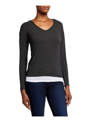 Majestic Paris for Neiman Marcus Double-Layer V-Neck Long-Sleeve Tee