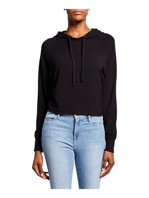 Majestic Paris for Neiman Marcus French-Terry Long-Sleeve Cropped Pullover Hoodie