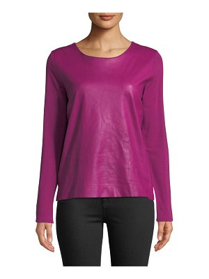 Majestic Paris for Neiman Marcus Leather-Front Long-Sleeve Top