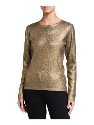Majestic Filatures Metallic Crewneck Long-Sleeve Sweater