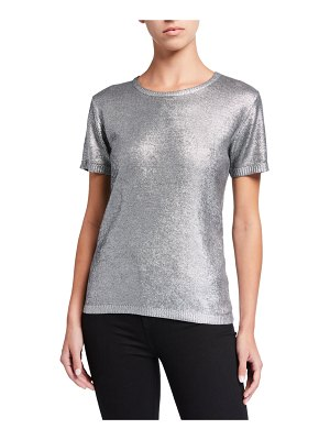Majestic Filatures Metallic Crewneck Short-Sleeve Sweater
