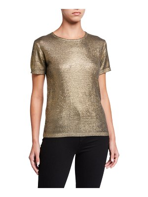 Majestic Filatures Metallic Elbow-Sleeve Crewneck Sweater