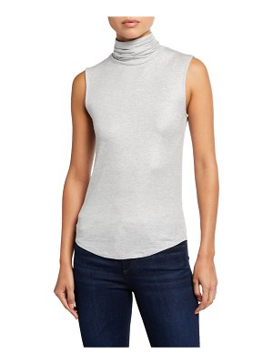 Majestic Paris for Neiman Marcus Metallic Soft Touch Sleeveless Turtleneck Tee