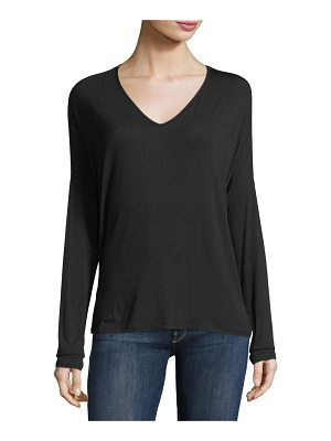 Majestic Paris for Neiman Marcus Soft Touch Long-Sleeve Relaxed V-Neck Tee
