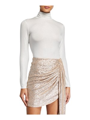 Majestic Paris for Neiman Marcus Soft Touch Metallic Long-Sleeve Turtleneck Top