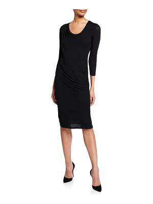 Majestic Paris for Neiman Marcus Soft Touch Scoop-Neck 3/4-Sleeve Drape Dress