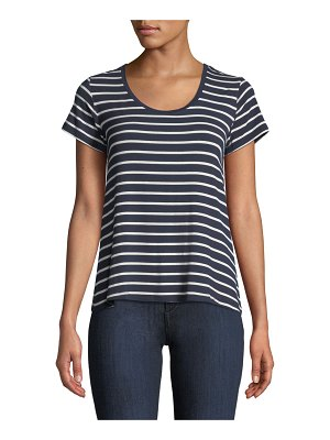 Majestic Paris for Neiman Marcus Soft-Touch Scoop-Neck Short-Sleeve Striped Top