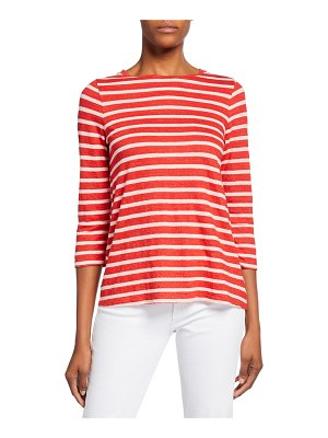 Majestic Paris for Neiman Marcus Striped Boat-Neck 3/4-Sleeve Tee