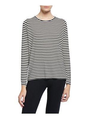 Majestic Paris for Neiman Marcus Striped Crewneck Long-Sleeve Inverted Back Pleat Tee